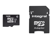 Integral UltimaPro - Carte mémoire flash ( adaptateur microSDHC - SD inclus(e) ) - 16 Go - UHS Class 1 / Class10 - microSDHC UHS-I INMSDH16G10-90U1