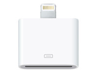 Apple Lightning to 30-pin Adapter - Adaptateur de données/chargement pour iPad/iPhone/iPod - Apple Dock (F) pour Lightning (M) - pour iPad Air; iPad Air 2; iPad mini; iPad mini 2; 3; 4; iPad Pro; iPhone 5, 5c, 5s, 6, 6 Plus, 6s, 6s Plus; iPod nano (7G); iPod touch (5G, 6G) MD823ZM/A
