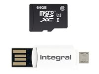 Integral Smartphone and Tablet - Carte mémoire flash ( adaptateur microSDHC - SD inclus(e) ) - 64 Go - Class 10 - microSDXC UHS-I INMSDX64G10-SPTOTGR