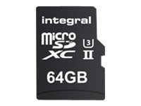 Integral UltimaPro X2 - Carte mémoire flash (adaptateur microSDXC vers SD inclus(e)) - 64 Go - Video Class V90 / UHS-II - microSDXC UHS-II INMSDX64G-280/240U2