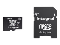 Integral UltimaPro - Carte mémoire flash ( adaptateur microSDXC vers SD inclus(e) ) - 64 Go - UHS Class 1 / Class10 - microSDXC INMSDX64G10-40U1